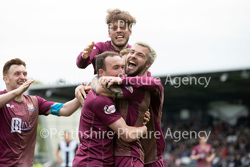 St Mirren v St Johnstone….27.04.19      St Mirren Park        SPFL<br />Chris Kane celebrates his goal with Richard Foster, Murray Davidson and Liam Craig<br />Picture by Graeme Hart. <br />Copyright Perthshire Picture Agency<br />Tel: 01738 623350  Mobile: 07990 594431