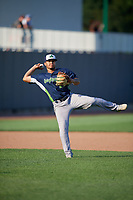 Vermont Lake Monsters third baseman Jordan Diaz (12) throws to first base during a NY-Penn League game against the Aberdeen IronBirds on August 18, 2019 at Leidos Field at Ripken Stadium in Aberdeen, Maryland.  Vermont defeated Aberdeen 6-5.  (Mike Janes/Four Seam Images)