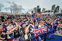 16th March 2021; Waitemata Harbour, Auckland, New Zealand;  Emirates Team New Zealand fans celebrate.<br />