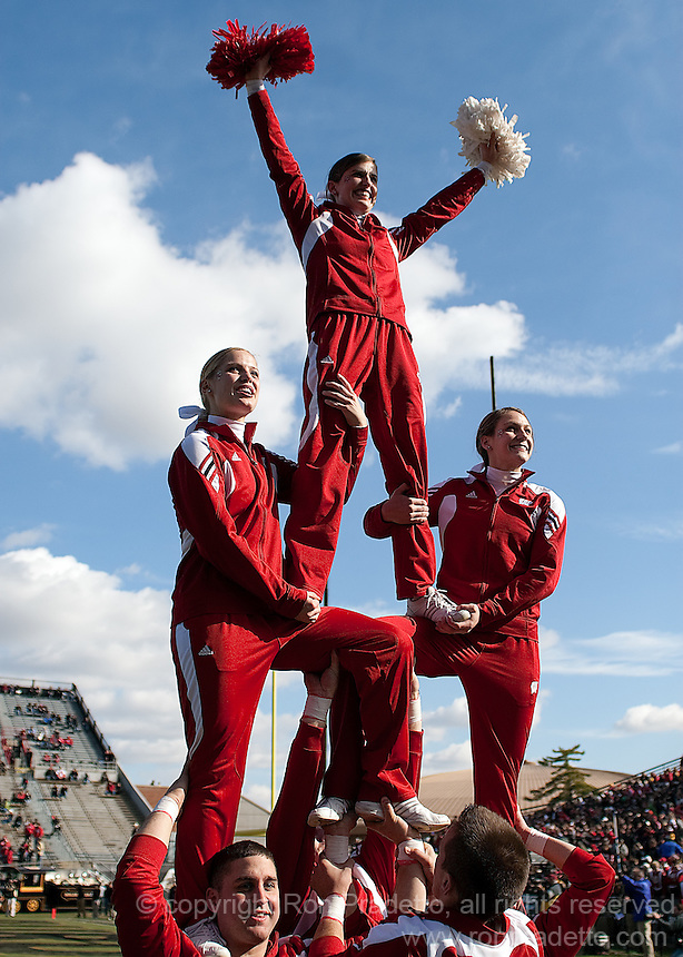 Wisconsin cheerleaders. The Wisconsin Badgers defeated the Purdue Boilermakers 34-13 at Ross-Ade Stadium, West Lafayette, Indiana on November 6, 2010.