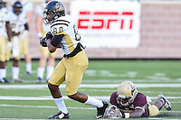 Arkansas Pine-Bluff's wide receiver Wesley Hawthorne (80) rushes for some yards during NCAA Football game, Saturday, August 30, 2014 in San Marcos, Tex. Texas State leads Arkansas Pine-Bluff 42-0 at the halftime. (Mo Khursheed/TFV Media via AP Images)