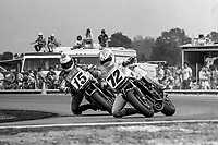 Dave Busby, #72 Honda, leads Glenn Barry, #15 Honda, Daytona 200, AMA Superbikes, Daytona International Speedway, Daytona Beach, FL, March 9, 1986.(Photo by Brian Cleary/bcpix.com)