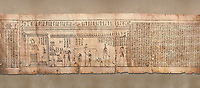 Ancient Egyptian Book of the Dead papyrus - Spell 126 - what to say in the judgement before Osiris, Iufankh's Book of the Dead, Ptolemaic period (332-30BC).Turin Egyptian Museum. <br /> <br /> Spell 125 instruct the deceased as to waht to say infront of Osiris and the Forty Two Judges in the Hall of Two Maat, the netherworlds Judgement Hall. <br /> <br /> The translation of  Iuefankh's Book of the Dead papyrus by Richard Lepsius marked a truning point in the studies of ancient Egyptian funereal studies.