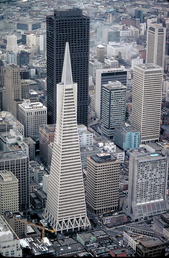 Aerial View, Transamerica & downtown skyscrapers, skyline. San Francisco California.