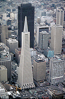 Aerial View, Transamerica & downtown skyscrapers, skyline. San Francisco California.