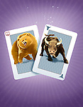 Illustrative image of bull and bear on playing card representing gambling in stock market