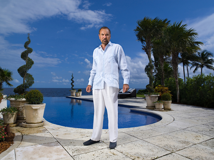 Real Estate developer Jorge Perez, CEO of the Related Group, photographed by his infinity pool for the Forbes magazine billionaire issue at his Coconut Grove, Florida home on August 15, 2006