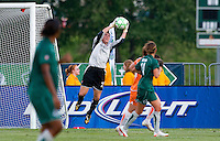 Sky Blue FC goalkeeper Jenni Branam (23) makes a save during a WPS match against the Saint Louis Athletica at Anheuser-Busch Soccer Park, in St. Louis, MO, July 22, 2009. Athletica won the match 1-0.