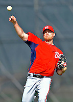 24 February 2012: Washington Nationals' pitcher Brad Lidge warms up at the Carl Barger Baseball Complex in Viera, Florida. Mandatory Credit: Ed Wolfstein Photo