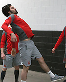 Brandon Hickey (BU - 4) - The Boston University Terriers warmed up prior to the Frozen Four final at TD Garden on Saturday, April 11, 2015, in Boston, Massachusetts.