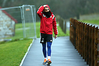 Pictured: Neil Taylor Tuesday 13 January 2014<br /> Re: Swansea City FC training at Fairwood near Swansea, south Wales.