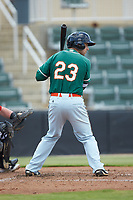 Harrison Dinicola (23) of the Greensboro Grasshoppers at bat against the Kannapolis Intimidators at Kannapolis Intimidators Stadium on August 5, 2018 in Kannapolis, North Carolina. The Grasshoppers defeated the Intimidators 2-1 in game one of a double-header.  (Brian Westerholt/Four Seam Images)