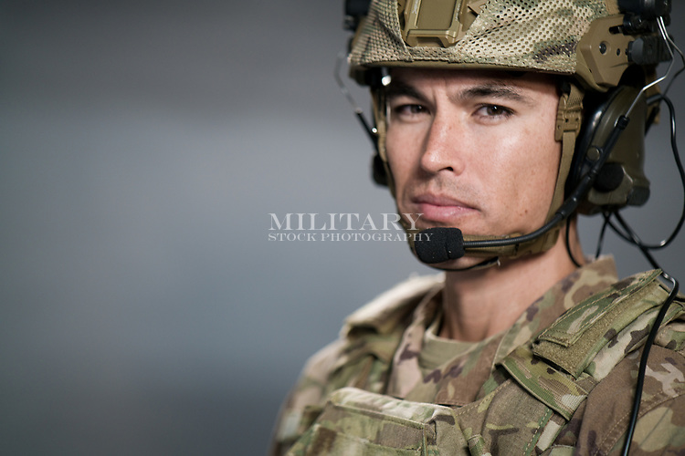Male US military soldier portrait model-released, stock photo, DOD compliant, for sale, for advertising