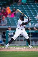 Indianapolis Indians right fielder Trayvon Robinson (6) during an International League game against the Columbus Clippers on April 29, 2019 at Victory Field in Indianapolis, Indiana. Indianapolis defeated Columbus 5-3. (Zachary Lucy/Four Seam Images)
