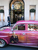 France. Paris. Hotel Georges V. Customised classic french car belonging to a Johnny Hallyday's fan. Hand painted. Rock'n roll. 23.05.09  © 2009 Didier Ruef..