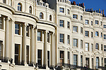 Great Britain, England, East Sussex, Brighton: Detail of Georgian houses along Brunswick Square