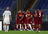 Football Soccer: UEFA Europa League UEFA Europa League Group A  AS Roma vs FCR Cluj, Olympic stadium, Rome, 5 November, 2020.<br /> Roma's Borja Mayoral (l) celebrates after scoring with his teammates during the Europa League football match between Roma and Cluj at the Olympic stadium in Rome on  5 November, 2020.<br /> UPDATE IMAGES PRESS/Isabella Bonotto