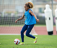 CLEVELAND, OH - SEPTEMBER 14: Casey Krueger of the United States dribbles during a training session at the training fields on September 14, 2021 in Cleveland, Ohio.