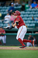 Altoona Curve first baseman Will Craig (25) follows through on a swing during a game against the Richmond Flying Squirrels on May 15, 2018 at Peoples Natural Gas Field in Altoona, Pennsylvania.  Altoona defeated Richmond 5-1.  (Mike Janes/Four Seam Images)