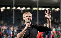 Crusaders coach Scott Robertson celebrates winning the 2021 Super Rugby Aotearoa final between the Crusaders and Chiefs at Orangetheory Stadium in Christchurch, New Zealand on Saturday, 8 May 2021. Photo: Joe Johnson / lintottphoto.co.nz