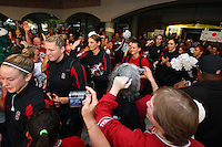 8 April 2008: Stanford Cardinal JJ Hones, Jayne Appel, Ashley Cimino, Jillian Harmon, Hannah Donaghe, Kayla Pedersen, Morgan Clyburn, and Rosalyn Gold-Onwude during Stanford's send off party before their 64-48 loss against the Tennessee Lady Volunteers in the 2008 NCAA Division I Women's Basketball Final Four championship game at the St. Pete Times Forum Arena in Tampa Bay, FL.
