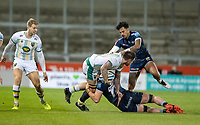 20th November 2020; AJ Bell Stadium, Salford, Lancashire, England; English Premiership Rugby, Sale Sharks versus Northampton Saints;  Teimana Harrison of Northampton Saints is tackled by Dan du Preez of Sale Sharks and  Denny Solomona of Sale Sharks takes avoiding action