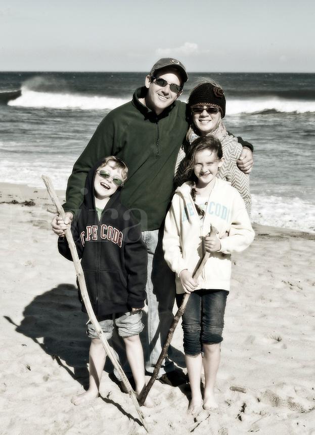 Family on beach vacation.