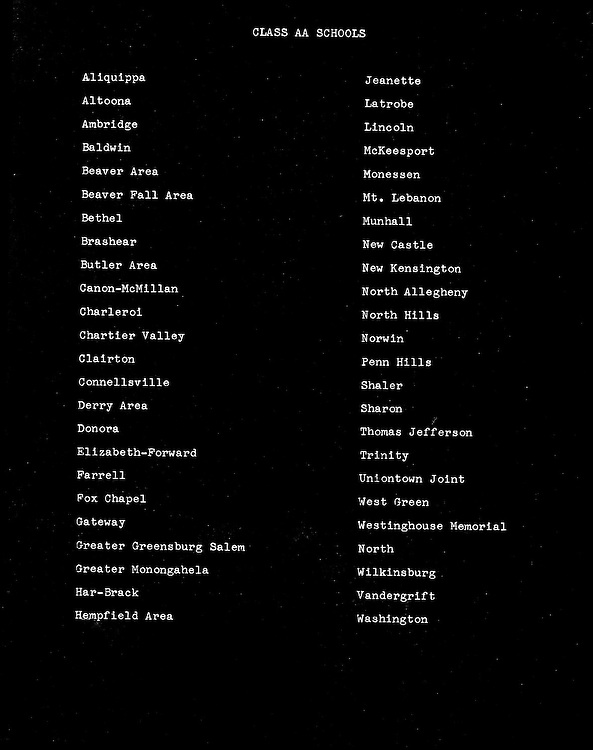 Bethel Park Pa:  Bethel Park High School football track stadium and baseball field proposal. List of all the Class AA schools in 1963.  As you can see, most were located in communities near steel mills and coal mines.