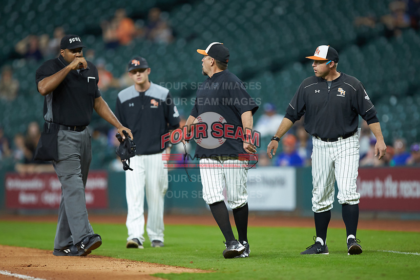 Sam Houston State Bearkats head coach Matt Deggs gets in one last word after having been ejected for arguing a call at first base during the game against the Mississippi State Bulldogs during game eight of the 2018 Shriners Hospitals for Children College Classic at Minute Maid Park on March 3, 2018 in Houston, Texas. The Bulldogs defeated the Bearkats 4-1.  (Brian Westerholt/Four Seam Images)