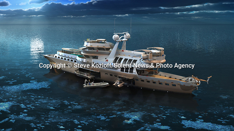 An innovative design for a £72m explorer yacht combines adventure with the luxuries of sailing.  The slender, 200ft-long (61m) Arctic Owl features opulent cabins, panoramic views, a spa and a swimming pool as well as two helicopters, two boats and a submarine to explore the ocean's depths.<br /> <br /> The unique cross between a superyacht and an explorer vessel has the capacity to accommodate up to ten guests along with a crew of six in its two master cabins and four twin bedrooms.  The lightweight yacht is both electric and diesel powered and can cruise at a speed of 16 knots for up to 6,000 miles.  SEE OUR COPY FOR DETAILS.<br /> <br /> Please byline: Steve Kozloff/Solent News<br /> <br /> © Steve Kozloff/Solent News & Photo Agency<br /> UK +44 (0) 2380 458800