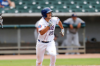 Tennessee Smokies first baseman Jake Slaughter (28) hustles up the first-base line against the Montgomery Biscuits on May 9, 2021, at Smokies Stadium in Kodak, Tennessee. (Danny Parker/Four Seam Images)