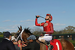 HOT SPRINGS, AR - MARCH 19: Jockey Joseph Rocco, Jr. celebrates after winning the Azeri Stakes aboard Call Pat at Oaklawn Park on March 19, 2016 in Hot Springs, AR. (Photo by Ciara Bowen/Eclipse Sportswire/Getty Images)