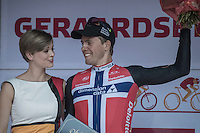 stage winner Edvald Boasson Hagen (NOR/Dimension Data) on the podium<br /> <br /> 12th Eneco Tour 2016 (UCI World Tour)<br /> Stage 7: Bornem › Geraardsbergen (198km)