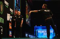 25th May 2021; Marshall Arena, Milton Keynes, Buckinghamshire, England; Professional Darts Corporation, Unibet Premier League Night 14 Milton Keynes; James Wade in action against Nathan Aspinall