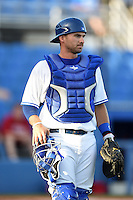 Dunedin Blue Jays catcher Mike Reeves (23) backs up a play during a game against the Clearwater Threshers on April 10, 2015 at Florida Auto Exchange Stadium in Dunedin, Florida.  Clearwater defeated Dunedin 2-0.  (Mike Janes/Four Seam Images)