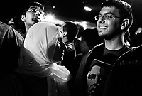 Chicago, Illinois, November 4th 2008.Hibah Yousuf. More than 200 000 people gathered in Grant Park to attend Barack Obama's meeting on election night. As the results slowly came in on the giant screens, emotion rose. At 10 PM, when CNN projected Obama's victory, the crowd erupted in cheers of joy, conscious of the historical significance of the moment.