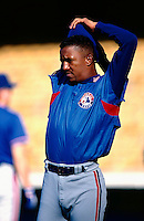 Pedro Martinez of the Montreal Expos during a game at Dodger Stadium in Los Angeles, California during the 1997 season.(Larry Goren/Four Seam Images)