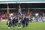 St Johnstone v Kilmarnock...07.11.15  SPFL  McDiarmid Park, Perth<br /> A Remembrance Service was held before kick off...Tommy Wright leaves the after laying a wreath led by 7 Scots Standard Bearers<br /> Picture by Graeme Hart.<br /> Copyright Perthshire Picture Agency<br /> Tel: 01738 623350  Mobile: 07990 594431