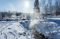 Lance Mackey passes the hot springs after leaving the checkpoint of Manley Hot Springs on March 10, 2015.  This is the second checkpoint of the 2015 Iditarod.<br /> <br /> (C) Jeff Schultz/SchultzPhoto.com - ALL RIGHTS RESERVED<br />  DUPLICATION  PROHIBITED  WITHOUT  PERMISSION