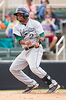 Delino DeShields Jr. #2 of the Lexington Legends follows through on his swing against the Kannapolis Intimidators at Fieldcrest Cannon Stadium on May 11, 2011 in Kannapolis, North Carolina.   Photo by Brian Westerholt / Four Seam Images