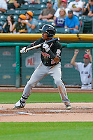 Raimel Tapia (2) of the Albuquerque Isotopes squares to bunt against the Salt Lake Bees in Pacific Coast League action at Smith's Ballpark on August 29, 2016 in Salt Lake City, Utah. The Isotopes defeated the Bees 9-4.  (Stephen Smith/Four Seam Images)