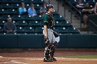 Greensboro Grasshoppers catcher Eli Wilson (29) on defense against the Winston-Salem Dash at Truist Stadium on August 11, 2021 in Winston-Salem, North Carolina. (Brian Westerholt/Four Seam Images)
