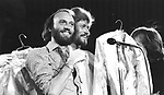 Bee Gees 1979 Maurice Gibb and Barry Gibb at UNICEF concert at the UN