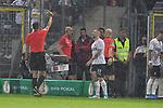 09.08.2019, BWT-Stadion am Hardtwald, Sandhausen, GER, DFB Pokal, 1. Runde, SV Sandhausen vs. Borussia Moenchengladbach, <br /> <br /> DFL REGULATIONS PROHIBIT ANY USE OF PHOTOGRAPHS AS IMAGE SEQUENCES AND/OR QUASI-VIDEO.<br /> <br /> im Bild: Gelbe Karte fuer Robin Scheu (#27, SV Sandhausen)<br /> <br /> Foto © nordphoto / Fabisch