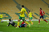 6th April 2021; Carrow Road, Norwich, Norfolk, England, English Football League Championship Football, Norwich versus Huddersfield Town; Kieran Dowell of Norwich City shoots and scores for 5-0 in the 42nd minute