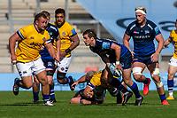 13th September 2020; AJ Bell Stadium, Salford, Lancashire, England; English Premiership Rugby, Sale Sharks versus Bath; AJ MacGinty of Sale Sharks passes the ball