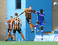 Hull City's Jordy de Wijs and Gillingham's John Akinde<br /> <br /> Photographer Rob Newell/CameraSport<br /> <br /> The EFL Sky Bet League One - Gillingham v Hull City - Saturday September 12th 2020 - Priestfield Stadium - Gillingham<br /> <br /> World Copyright © 2020 CameraSport. All rights reserved. 43 Linden Ave. Countesthorpe. Leicester. England. LE8 5PG - Tel: +44 (0) 116 277 4147 - admin@camerasport.com - www.camerasport.com