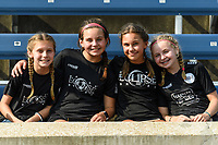 BRIDGEVIEW, IL - JULY 18: Fans pose for a photo before a game between OL Reign and Chicago Red Stars at SeatGeek Stadium on July 18, 2021 in Bridgeview, Illinois.