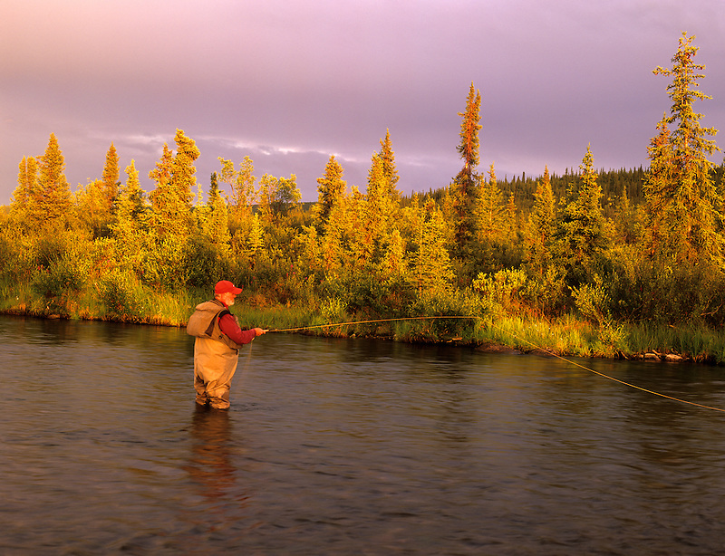 Fly fisherman on Gulkana River, Alaska