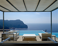 The terrace and infinity pool have an unprecedented view over the hills of Ibiza and the Mediterranean